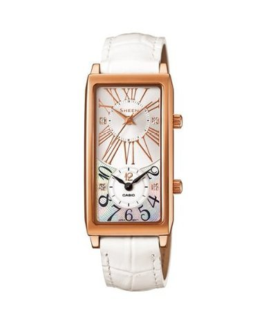 Casio SHE-4035PGL-7AUDR Ladies Sheen White Leather Strap Watch