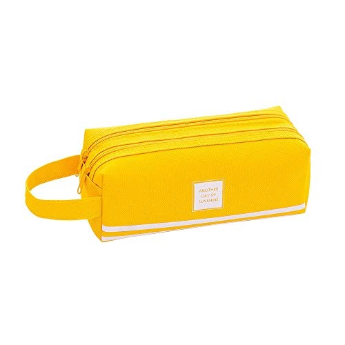 Gotian Creative Pencil Case Students Kids Brief Style Pure Color Large Capacity Pen Pencil Bag Stationery (Yellow) ()