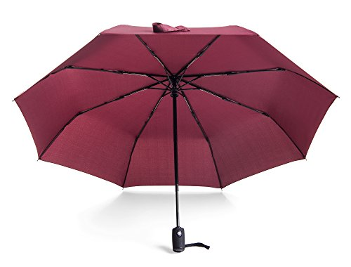 Bag Boy Rain Canopy - RITENG 23 Inch Automatic Open and Close Winderproof Compact Travel Foldable Umbrella in Multiple Colors (Wine red)
