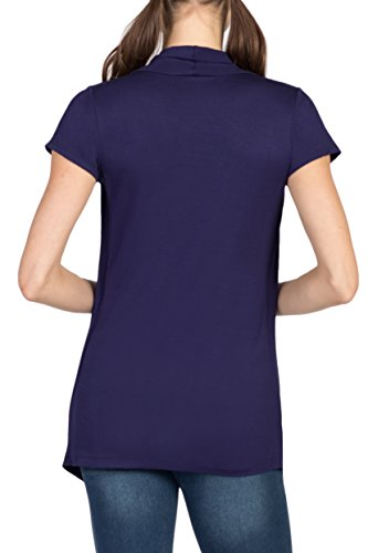 - Savi Mom Cross-Over Draped Maternity & Nursing/Breastfeeding Pullover Shirt Top w/Cami Criss Cross (Medium, Navy)