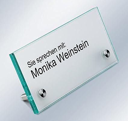 Expositor, nombre, Cartel de recepción, cristal de vidrio ...