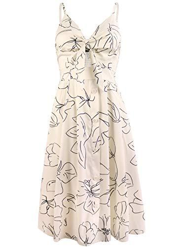 Spaghetti Button Midi Down Femmes Robe Abricot Strap Floral Imprime Fancyinn nPkwO0