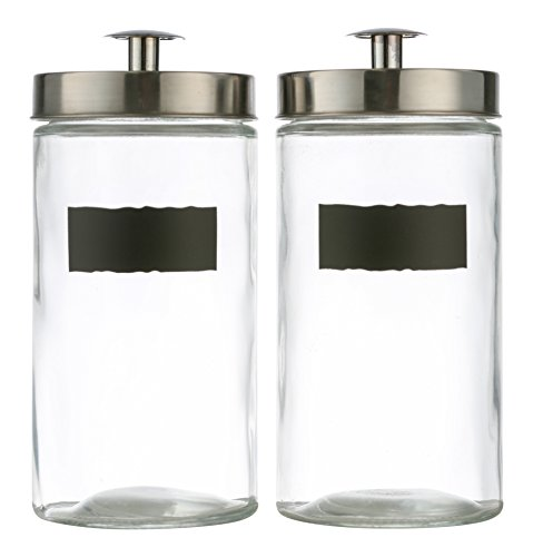 Style Setter Ultimate 2-piece Round Glass Kitchen Canister Set - Crystal Clear Food Storage Containers With Silver Airtight Lids & Chalkboard Labels For Coffee, Pasta, Cookies & More - 9'' High 60oz by Style Setter