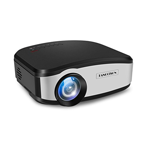 TANGCISON Home Projector Video Projector, LCD Mini Home Projector 1500 Luminous 150″ 1080P Portable Projector Home Theater Video Mini Projector for Outdoor Indoor Movie / Home Backyard / Game (Black)