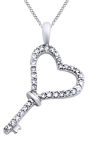 0.12 Ct Natural Diamond Key Heart Pendant Necklace In 14K Solid White Gold