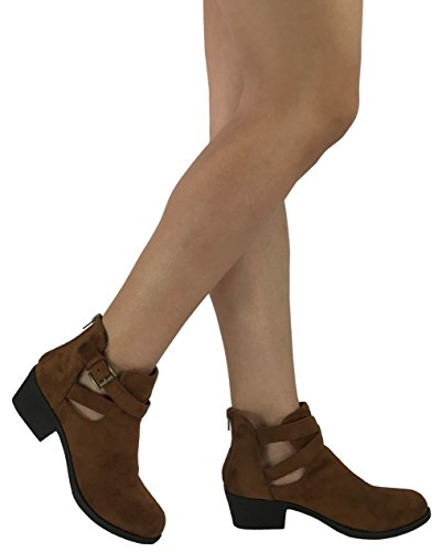 Karyns Women's Bailey Ankle Bootie Cut Out Sides Buckle Straps Mid Block Stacked Heel, Tan, 11 (Bailey Western Top)