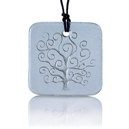 Moneta Jewelry, Recycled Glass Tree of Life Pendant Necklace, Handmade, Fair Trade, Unique Gift (Clear glass)