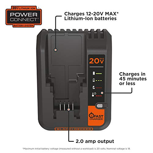 BLACK DECKER, Lithium Battery Charger, 20V MAX, 2 Amp (BDCAC202B)