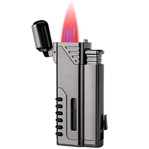 lcfun Torch Lighter,Refillable Gas Fuel Butane Lighter, Butane Torch Lighter,Quad Jet Lighter,4 Red Flame Torch Lighters with Punch Cutter and Butane Window-Butane Not Included