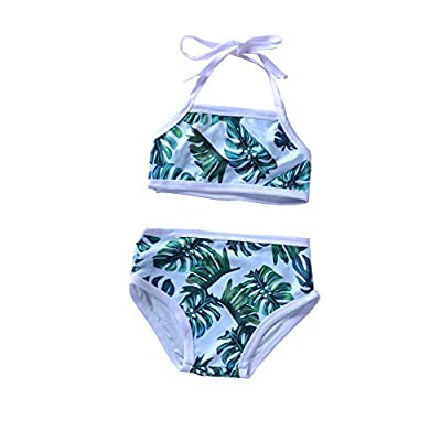 Toddler Kids Baby Girls Swimsuit Leaf Ruffles Swimwear Halter Bathing Suit 2PCS Bikini with Sun Hat Summer Clothes Set