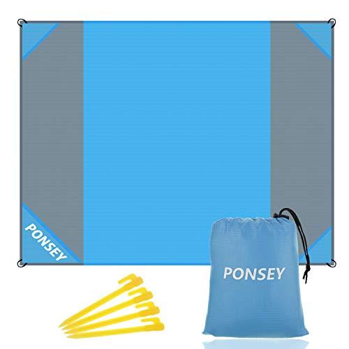 Ponsey Picknickdeken 200 x 200 cm stranddeken strandmat waterdichte strandhanddoek zandafstotend draagbare campingmat…