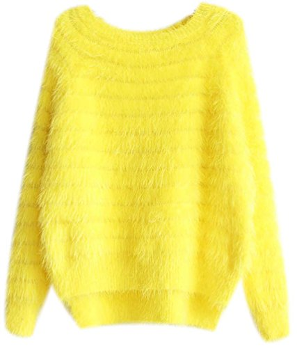 Pull Chaud Femme Mohair Maille Col Rond Oversized Sweaters Haut Feminin Loose Tops Chandail Longues Casual Pullover Jumper Tricots Automne Hiver Jaune