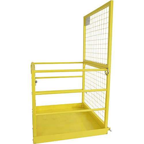 Forklift Safety Cage Work Platform Lift Basket Aerial Fence Rails Yellow 2 man by Titan Attachments (Image #4)