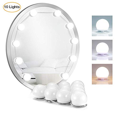 Makeup Portable Vanity Mirror Lights Kit 10 LED Light Bulbs for Vanity Table Set and Bathroom Mirror Hollywood Style Lighting Fixture Strip with USB Charging Cable (Mirror Not - Fixture Pyramid Cable