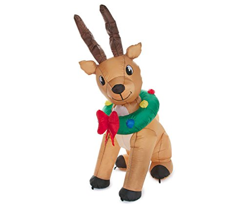 Inflatable Animated Reindeer Lighted with Wreath - 6 Foot Tall