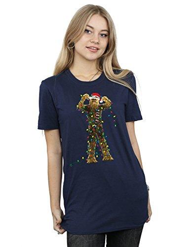 ewbacca Christmas Lights Boyfriend Fit T-Shirt XXX-Large Navy Blue (Boyfriend Light T-shirt)