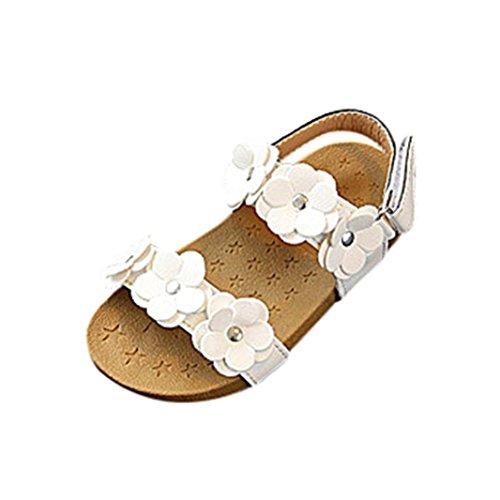 Hemlock Girls Sandals Flower Flats Shoes Toddler Kids Soft Sole Beach Slipper Flats (2 years old, White)