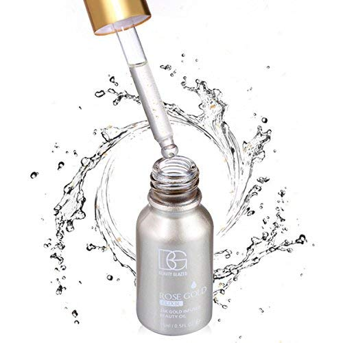 Beauty Glazed 24K GOLD INFUSED Beauty Oil Primer Foundation Rich in Vitamin A&E Moisturizing Anti-Aging Acne Face Oil