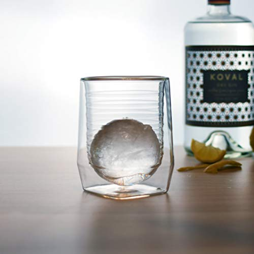 Aged & Ore - The Duo Glass | Hand Blown Double Walled Whiskey Glass Gift Set with Free Silicone Ice Molds | Integrated Measuring Lines for the Perfect Cocktail | Durable Modern Tumbler | Set of 2 by Aged & Ore (Image #8)