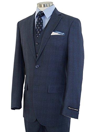 Alberto Cardinali Men's Glen Plaid 3-Piece 2 Button Slim-Fit Suit w/Matching Vest [Color: Cool Blue | Size: 48 Long / 42 Waist]