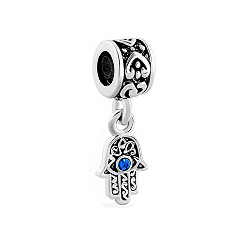 LovelyJewelry Lucky Charm Heart Love Dangle Hamsa Hand Blue Evil Eye Spacer Charms Beads For Bracelet (Sep Birthstone)