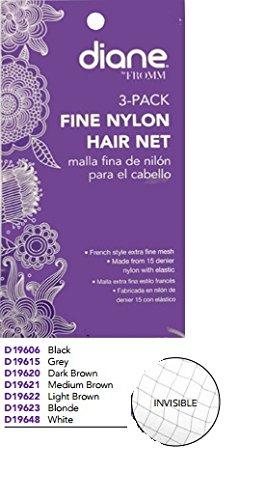 Diane Nylon Net French Elastic, Grey, 3 Count