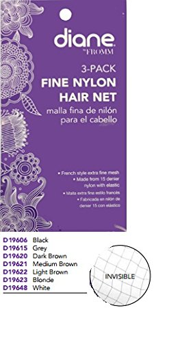 Diane Fine Nylon Hair Nets - Black (3 Pack) Diane Mesh