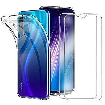 HTDELEC Funda + 2 Pack Vidrio Templado Xiaomi Redmi Note 8,Transparente Slim Silicona Fundas Suave TPU Gel Carcasa Ultra-Delgado Anti-arañazos ...