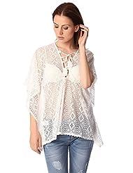 Q2 Women's White kimono top in crochet with lace tie