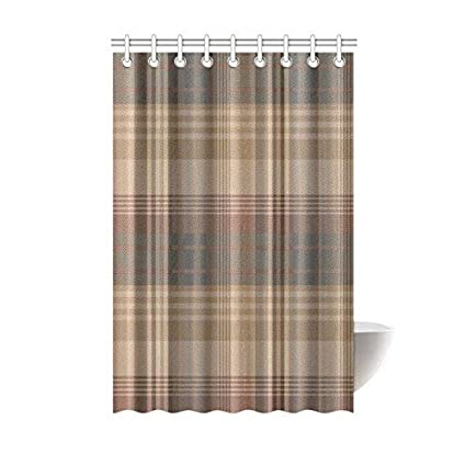 Scottish Tartan Plaid Pattern Waterproof Bathroom Decor Fabric Shower Curtain Polyester 48 X 72 Inches