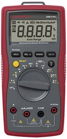 Amprobe AM-510 Commercial/Residential Multimeter with Non-Contact Voltage Detection with a NIST-Traceable Calibration Certificate with Data