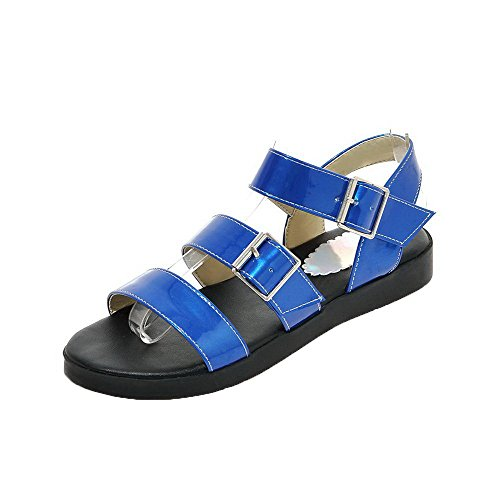 AalarDom Womens Buckle Open-Toe Low-Heels Solid Sandals Darkblue