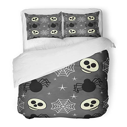 Emvency Bedding Duvet Cover Set Full/Queen (1 Duvet Cover + 2 Pillowcase) Baby Halloween Skull Spider and for Festive Cartoon Child Hotel Quality Wrinkle and Stain Resistant