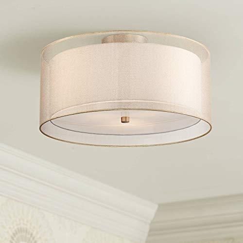 """Possini Euro Double Drum 18"""" Wide Champagne Ceiling Light - Possini Euro Design"""