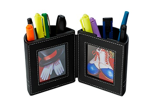 Desk Organizer , Pen and Pencil Holder with Picture Frame By Pensali - Office Supplies Space Saver - Made of Premium Suede Base Faux Leather Strong Magnetic Clasp Attractive Design - Black ()
