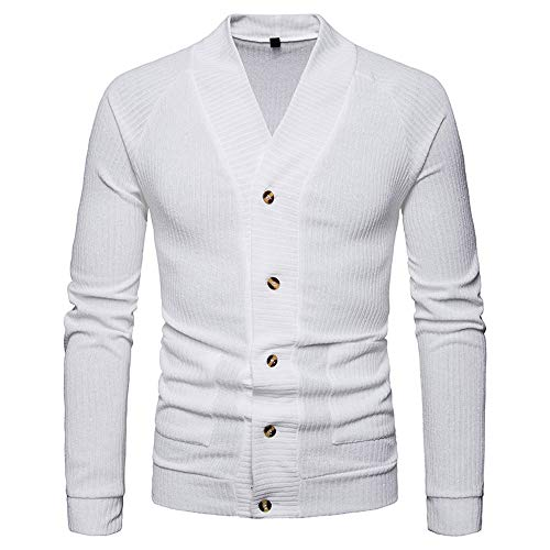 (Muranba Clearance Men V Neck Button Knit Sweater Cardigan Coat (US: S/Tag : M, White C))