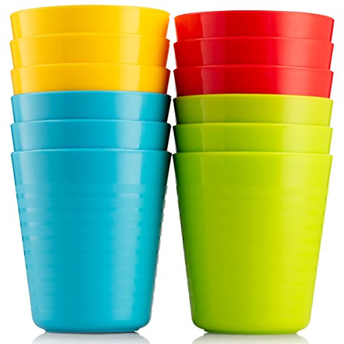 Plaskidy Kids Cups - Set of 12 Kids Plastic Cups - 8 oz Kids Drinking Cups -Plastic Cups Reusable - Dishwasher Safe - BPA-Free Cups for Kids & Toddlers Bright Colored - Unbreakable Toddler Cups ()