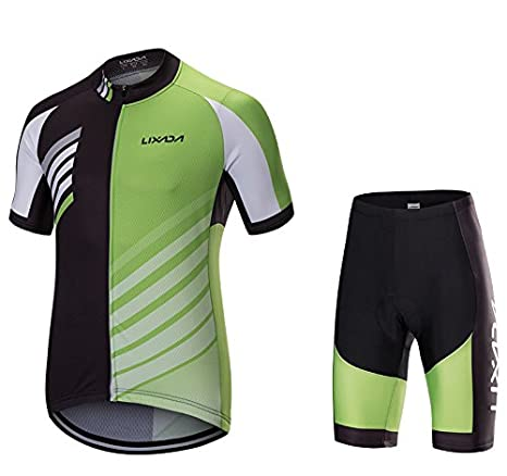 ce8dd86d4 Image Unavailable. Image not available for. Color  Lixada Men Breathable  Quick Dry Cycling Jersey 3D Gel Padded MTB Road Bike Biking Short Sleeve