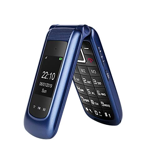 Uleway 3G Flip Phone Unlocked Big Button 2.4 Inch Dual Screen Tmobile Flip Phone Dual SIM Card SOS Button Basic Cell…