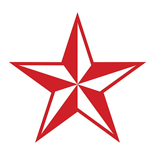 (JMM Industries Nautical Star Vinyl Decal Sticker Car Window Bumper Premium Quality UV Resistant Die Cut (Red, 3-Inches))