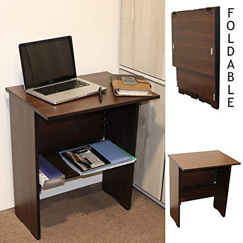 Spacecrafts Wooden Folding Computer Table for Laptop Study Office Desk (Standard, Brown)