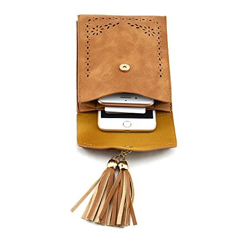 A PU Phone Bag Leather Crossbody Bags Portable Cell Shoulder Small woman's black Bausweety CqAxzPY