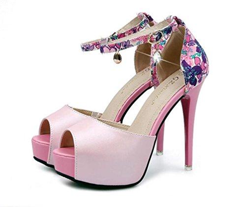 4.5 cm Plataforma Peep-Toe Tobillo Correas 12 cm Scarpin Heel Boda de Ocasión verano Ladies Sandalias UE Tamaño 34-39 Pink