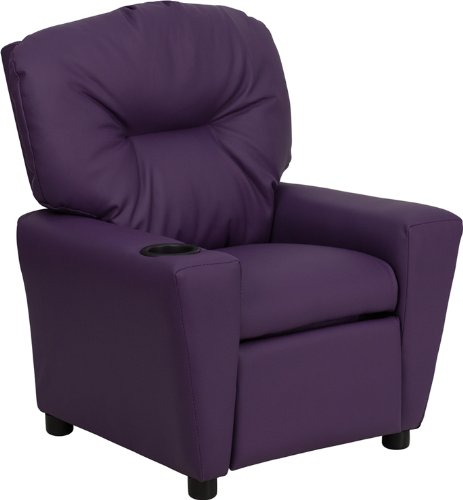 - Contemporary Purple Vinyl Kids Recliner with Cup Holder