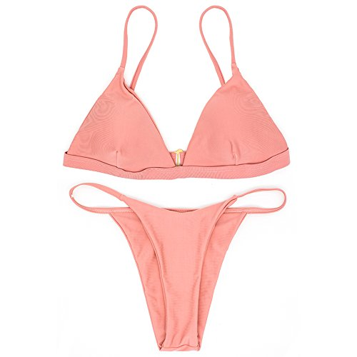 Sexy Pink Bikini Set,Adjustable Strappy Women Fashion Halter Padding Two Piece Swimsuit((US 4-6)=Tag Size - Top Swimsuit Triangle Adjustable