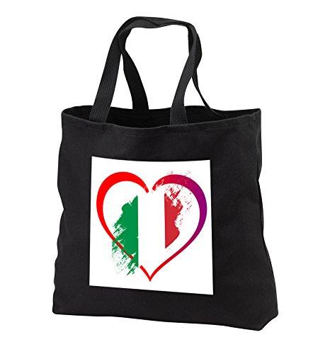 Sven Herkenrath Flags - Italian Flag inside a Heart on White Background Trendy Work - Tote Bags - Black Tote Bag JUMBO 20w x 15h x 5d (tb_255852_3) Heart Italian Bag