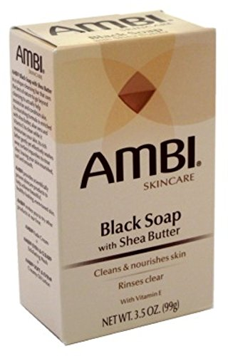 Price comparison product image Ambi Skincare Black Soap with Shea Butter, 3.5 Oz (Pack of 2)