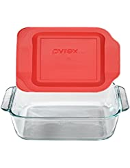 """Pyrex SYNCHKG089152 Get Dinner Away Large Handle 8"""" x 8"""" Square Dish. Making it Easy to Monitor Casserole Cooking and Brownie Baking from a, 4, Red 8"""""""