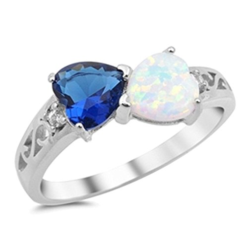 925 Sterling Silver Ring Lab White Opal Simulated Blue Sapphire Heart Shape Promise Ring