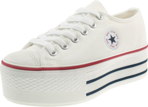 - Maxstar Women's C50 6 Holes Platform Canvas Low Top Sneakers White 8.5 B(M) US